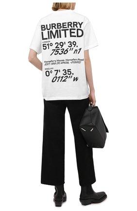 Женская хлопковая футболка BURBERRY белого цвета, арт. 8037292 | Фото 2