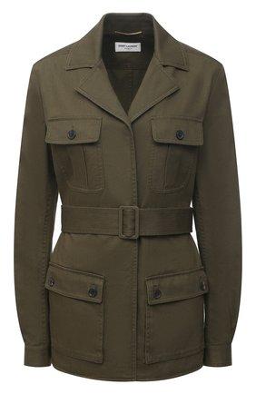 Женская хлопковая куртка SAINT LAURENT хаки цвета, арт. 506647/Y153W | Фото 1