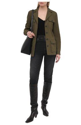 Женская хлопковая куртка SAINT LAURENT хаки цвета, арт. 506647/Y153W | Фото 2