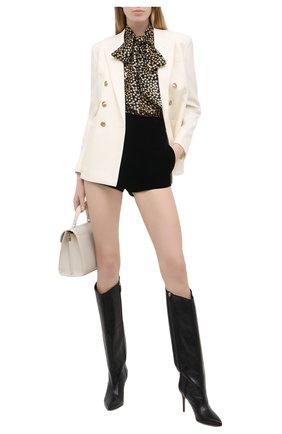 Женские шорты SAINT LAURENT черного цвета, арт. 650256/Y525R | Фото 2 (Материал внешний: Купро, Вискоза; Материал подклада: Шелк; Стили: Гламурный; Длина Ж (юбки, платья, шорты): Мини; Женское Кросс-КТ: Шорты-одежда)