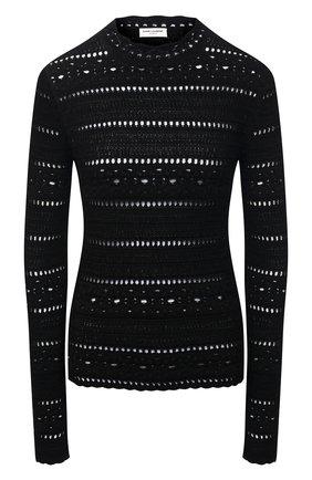 Женский хлопковый пуловер SAINT LAURENT черного цвета, арт. 646381/YAVS2 | Фото 1