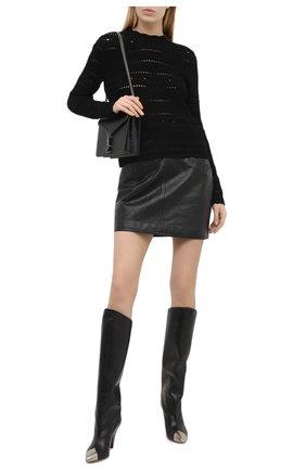 Женский хлопковый пуловер SAINT LAURENT черного цвета, арт. 646381/YAVS2 | Фото 2