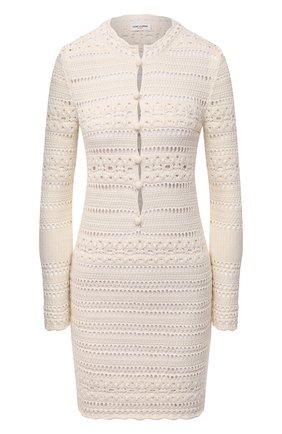 Женское хлопковое платье SAINT LAURENT светло-бежевого цвета, арт. 646374/YAVS2 | Фото 1