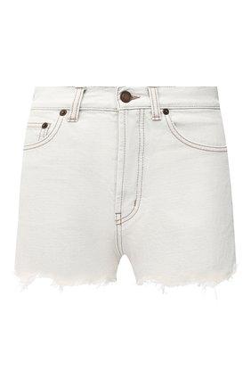 Женские джинсовые шорты SAINT LAURENT белого цвета, арт. 641899/Y01KB | Фото 1 (Длина Ж (юбки, платья, шорты): Мини; Кросс-КТ: Деним; Женское Кросс-КТ: Шорты-одежда; Материал внешний: Хлопок; Стили: Гранж)