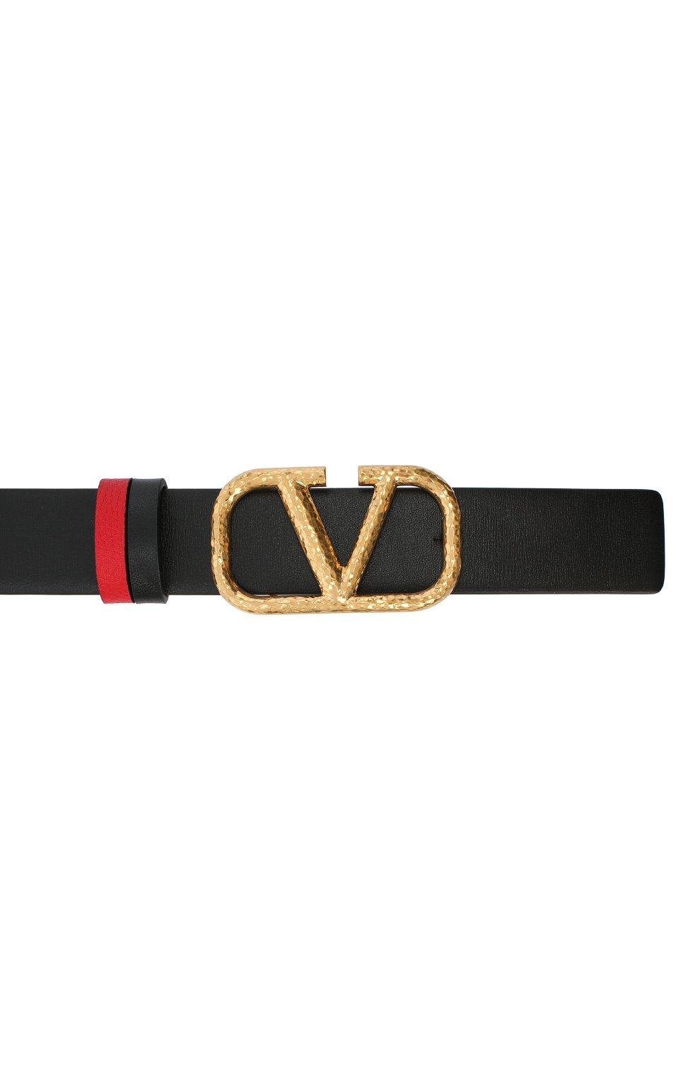 Женский кожаный ремень  VALENTINO черного цвета, арт. VW2T0T15/TAL | Фото 3