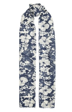 Женский шерстяной шарф SAINT LAURENT синего цвета, арт. 651073/3Y200 | Фото 1 (Материал: Шерсть)