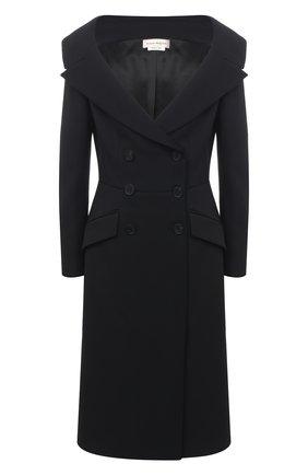 Женское пальто из шерсти и шелка ALEXANDER MCQUEEN черного цвета, арт. 645679/QJAAA | Фото 1 (Материал внешний: Шерсть; Материал подклада: Купро; 1-2-бортные: Двубортные; Стили: Романтичный; Рукава: Длинные; Длина (верхняя одежда): До колена)