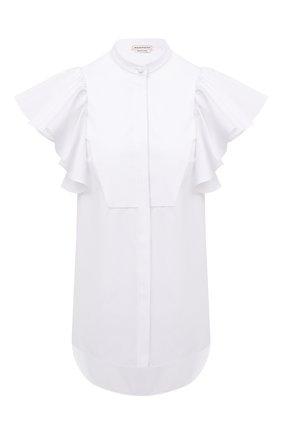 Женская хлопковая блузка ALEXANDER MCQUEEN белого цвета, арт. 646340/QAAAD   Фото 1 (Стили: Бохо; Материал внешний: Хлопок; Рукава: Короткие; Длина (для топов): Удлиненные; Женское Кросс-КТ: Блуза-одежда; Принт: Без принта)