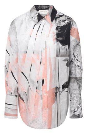 Женская хлопковая рубашка ALEXANDER MCQUEEN разноцветного цвета, арт. 651084/QZACH   Фото 1 (Принт: С принтом; Стили: Романтичный; Материал внешний: Хлопок; Рукава: Длинные; Женское Кросс-КТ: Рубашка-одежда; Длина (для топов): Удлиненные)