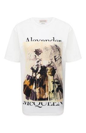 Женская хлопковая футболка ALEXANDER MCQUEEN разноцветного цвета, арт. 651390/QZACL   Фото 1 (Рукава: Короткие; Стили: Гранж; Длина (для топов): Стандартные; Женское Кросс-КТ: Футболка-одежда; Материал внешний: Хлопок; Принт: С принтом)