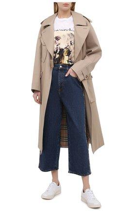 Женская хлопковая футболка ALEXANDER MCQUEEN разноцветного цвета, арт. 651390/QZACL   Фото 2 (Рукава: Короткие; Стили: Гранж; Длина (для топов): Стандартные; Женское Кросс-КТ: Футболка-одежда; Материал внешний: Хлопок; Принт: С принтом)