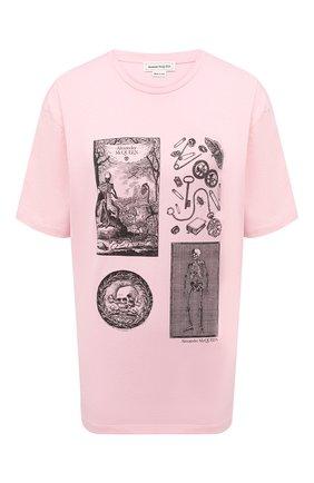 Женская хлопковая футболка ALEXANDER MCQUEEN розового цвета, арт. 651389/QZACK   Фото 1 (Материал внешний: Хлопок; Рукава: Короткие; Женское Кросс-КТ: Футболка-одежда; Принт: С принтом; Стили: Гранж; Длина (для топов): Стандартные)