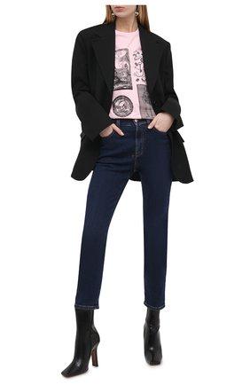Женская хлопковая футболка ALEXANDER MCQUEEN розового цвета, арт. 651389/QZACK   Фото 2 (Материал внешний: Хлопок; Рукава: Короткие; Женское Кросс-КТ: Футболка-одежда; Принт: С принтом; Стили: Гранж; Длина (для топов): Стандартные)