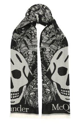 Женский шерстяной шарф ALEXANDER MCQUEEN черно-белого цвета, арт. 646450/3200Q | Фото 1 (Материал: Шерсть)