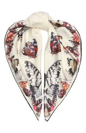 Женский шелковый платок ALEXANDER MCQUEEN бежевого цвета, арт. 638345/3001Q | Фото 1
