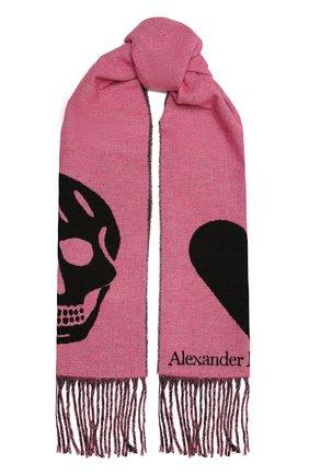 Женский шарф ALEXANDER MCQUEEN розового цвета, арт. 628294/3C78Q   Фото 1 (Материал: Синтетический материал, Текстиль, Шерсть)