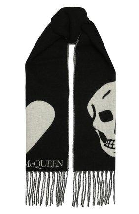 Женский шарф ALEXANDER MCQUEEN черно-белого цвета, арт. 628294/3C78Q | Фото 1 (Материал: Текстиль, Синтетический материал, Шерсть)