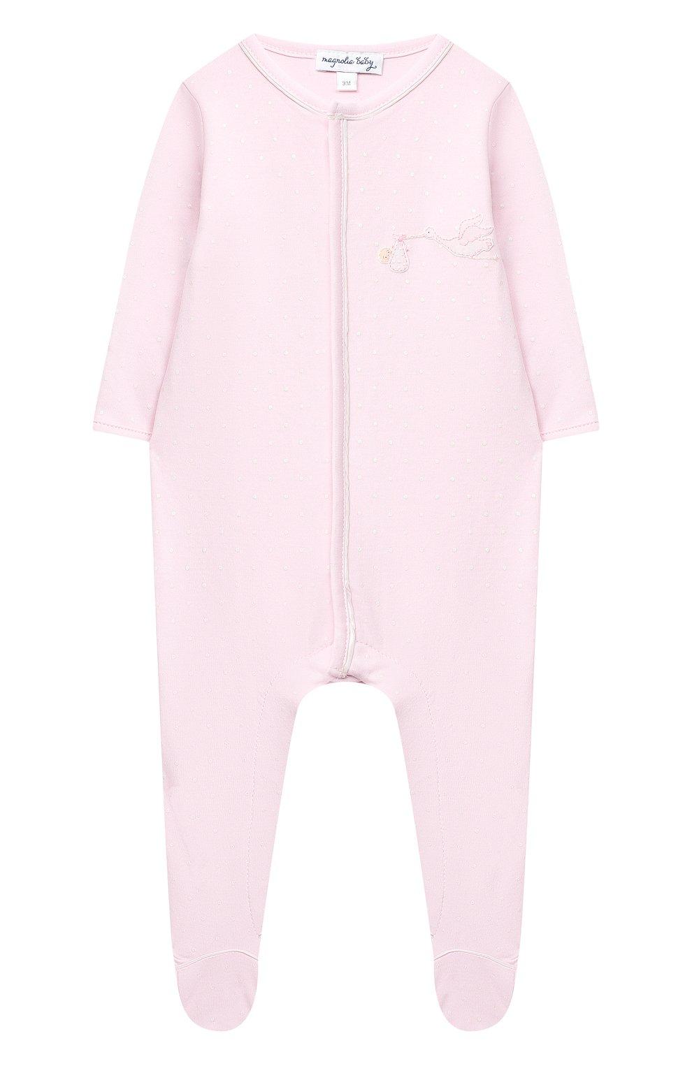 Детский хлопковый комбинезон MAGNOLIA BABY розового цвета, арт. E103-22-PK   Фото 1 (Рукава: Длинные; Материал внешний: Хлопок)