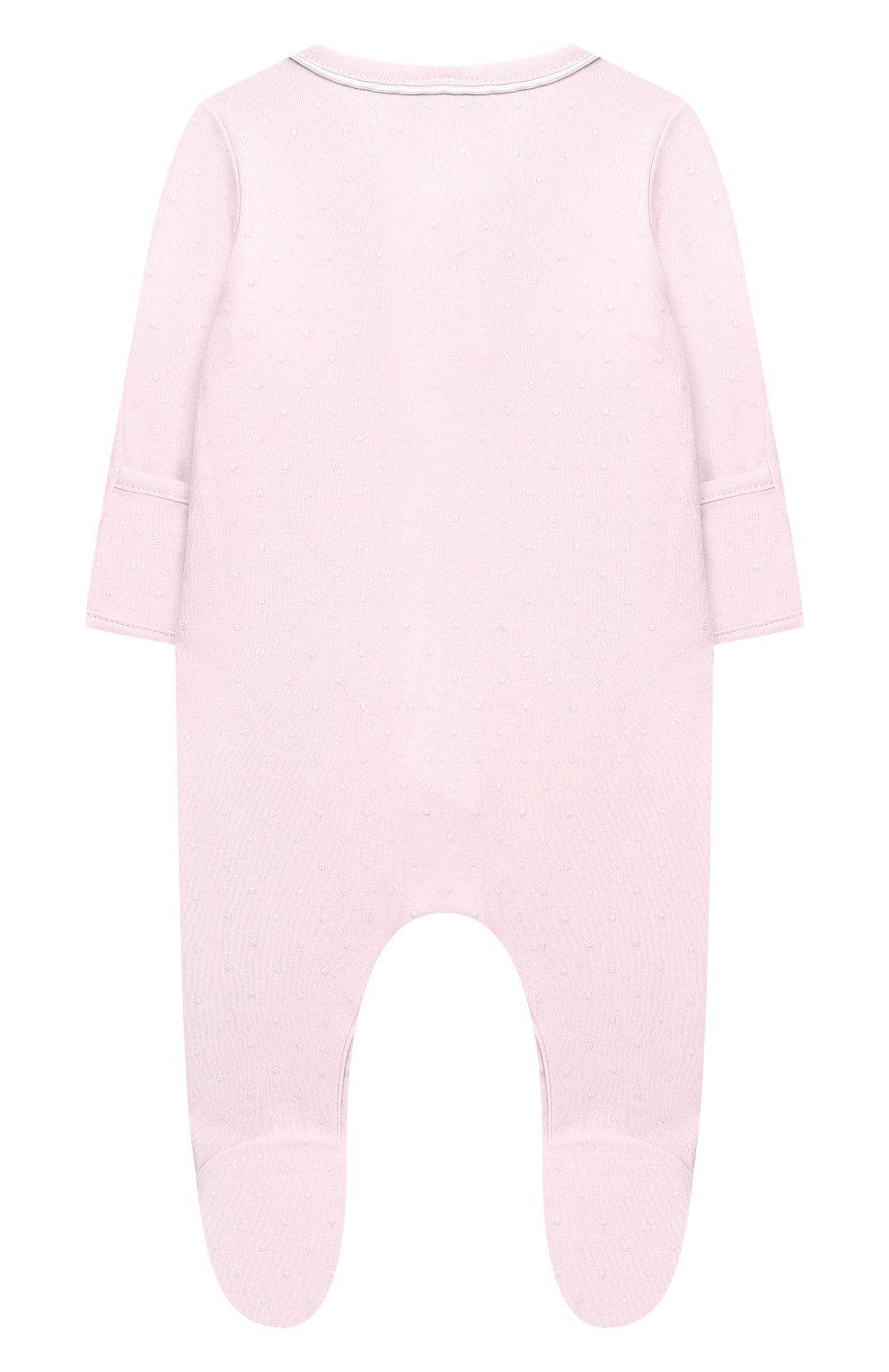 Детский хлопковый комбинезон MAGNOLIA BABY розового цвета, арт. E103-22-PK   Фото 2 (Рукава: Длинные; Материал внешний: Хлопок)