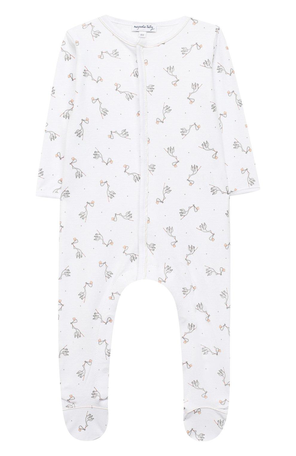 Детский хлопковый комбинезон MAGNOLIA BABY белого цвета, арт. E103-22-WH   Фото 1 (Рукава: Длинные; Материал внешний: Хлопок; Ростовка одежда: 0 - 3 мес   50 - 60 см, 9 мес   74 см)