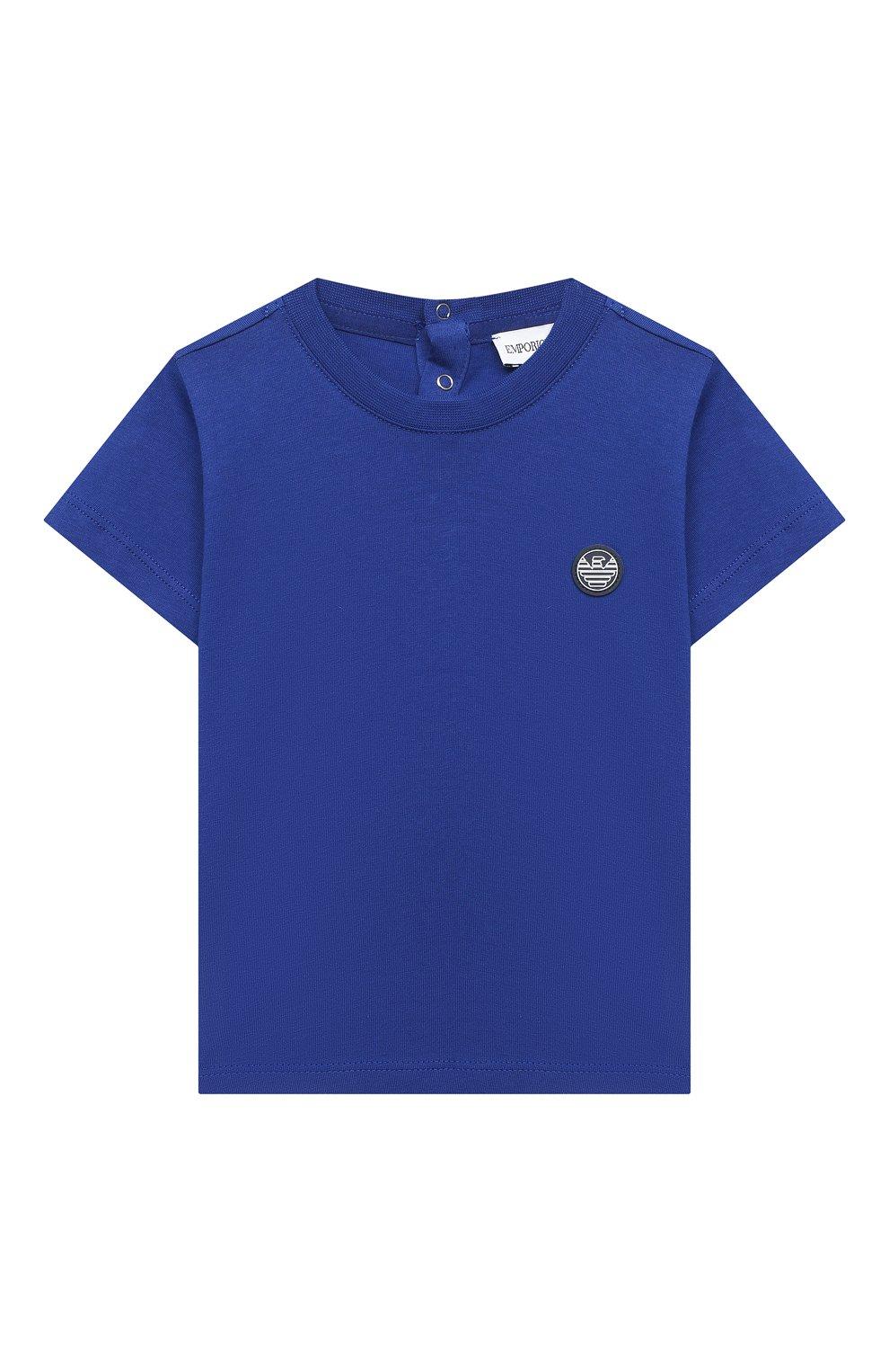 Детский хлопковая футболка EMPORIO ARMANI синего цвета, арт. 3KHTJ2/4J4JZ   Фото 1