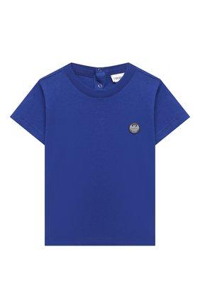 Детский хлопковая футболка EMPORIO ARMANI синего цвета, арт. 3KHTJ2/4J4JZ | Фото 1