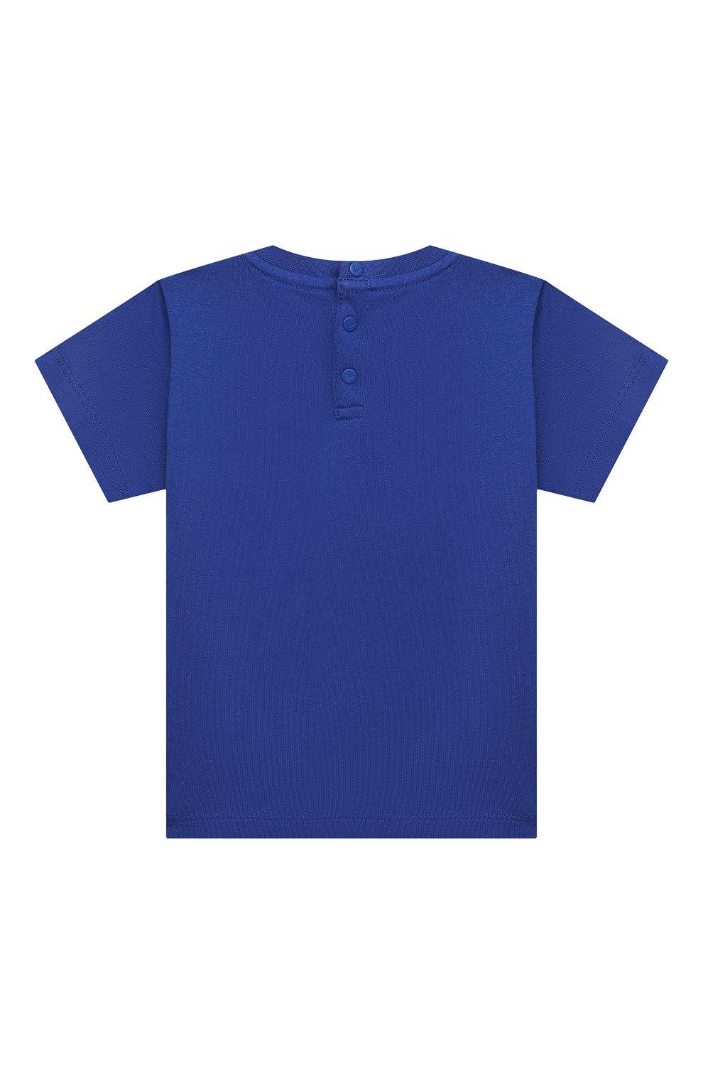 Детский хлопковая футболка EMPORIO ARMANI синего цвета, арт. 3KHTJ2/4J4JZ   Фото 2