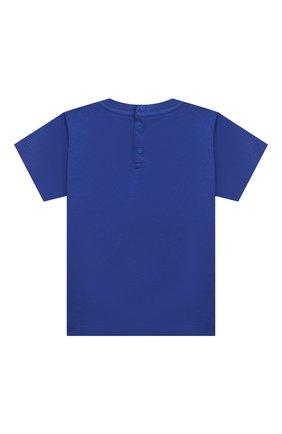 Детский хлопковая футболка EMPORIO ARMANI синего цвета, арт. 3KHTJ2/4J4JZ | Фото 2
