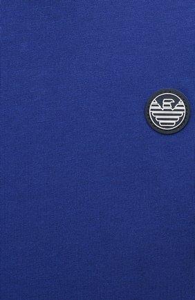 Детский хлопковая футболка EMPORIO ARMANI синего цвета, арт. 3KHTJ2/4J4JZ   Фото 3