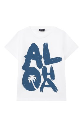 Детский хлопковая футболка IL GUFO белого цвета, арт. P21TS274M0014/5A-8A | Фото 1
