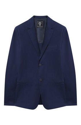 Детский хлопковый пиджак DAL LAGO синего цвета, арт. N048F/7604/13-16 | Фото 1 (Материал внешний: Хлопок; Рукава: Длинные; Кросс-КТ: пиджак; Материал подклада: Вискоза; Ростовка одежда: 13 - 15 лет | 158 см, 16 лет | 164 см)