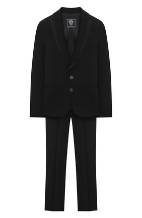Детский шерстяной костюм DAL LAGO черного цвета, арт. N057/1011/13-16 | Фото 1 (Рукава: Длинные; Материал подклада: Вискоза; Материал внешний: Шерсть; Кросс-КТ: костюм; Ростовка одежда: 13 - 15 лет | 158 см, 16 лет | 164 см)