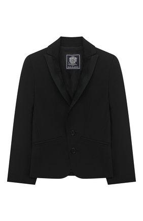 Детский шерстяной костюм DAL LAGO черного цвета, арт. N057/1011/1-6 | Фото 2 (Материал внешний: Шерсть; Кросс-КТ: костюм; Материал подклада: Вискоза; Рукава: Длинные; Ростовка одежда: 3 года | 98 см, 4 года | 104 см, 5 лет | 110 см, 6 лет | 116 см)