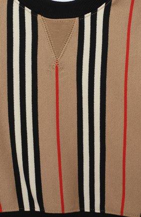 Детский хлопковый свитшот BURBERRY бежевого цвета, арт. 8022057 | Фото 3