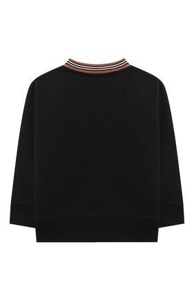 Детский хлопковый пуловер BURBERRY черного цвета, арт. 8036951 | Фото 2