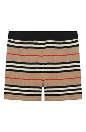 Детские хлопковые шорты BURBERRY бежевого цвета, арт. 8037138 | Фото 2