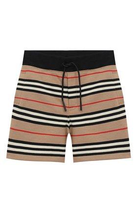 Детские хлопковые шорты BURBERRY бежевого цвета, арт. 8037139 | Фото 1