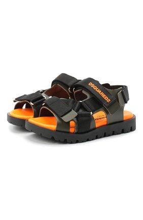 Детские кожаные сандалии DSQUARED2 хаки цвета, арт. 67031/SWILLY/18-27   Фото 1 (Материал внутренний: Натуральная кожа)
