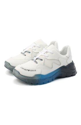 Детские кожаные кроссовки EMPORIO ARMANI белого цвета, арт. XYX008/X0I45/28-34   Фото 1