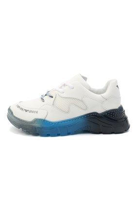 Детские кожаные кроссовки EMPORIO ARMANI белого цвета, арт. XYX008/X0I45/28-34   Фото 2