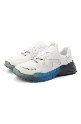 Детские кожаные кроссовки EMPORIO ARMANI белого цвета, арт. XYX008/X0I45/35-40   Фото 1