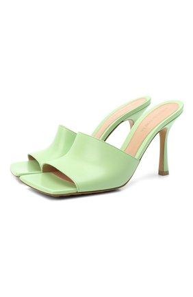 Женские кожаные мюли BOTTEGA VENETA светло-зеленого цвета, арт. 610538/VBSF0 | Фото 1