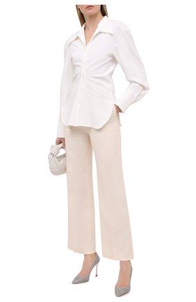 Женские текстильные туфли romy JIMMY CHOO серебряного цвета, арт. R0MY 100/J0Y   Фото 2