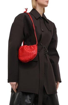 Женская сумка bulb mini BOTTEGA VENETA красного цвета, арт. 651905/V08Z1   Фото 2 (Размер: mini; Сумки-технические: Сумки через плечо; Материал: Натуральная кожа)