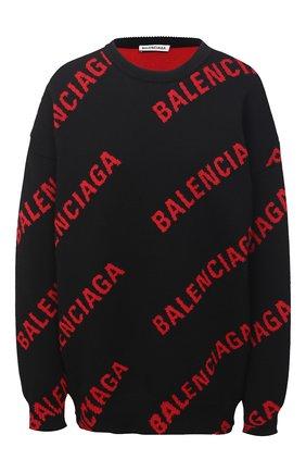 Женский свитер из хлопка и шерсти BALENCIAGA черного цвета, арт. 625329/T3178   Фото 1