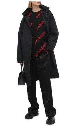 Женский свитер из хлопка и шерсти BALENCIAGA черного цвета, арт. 625329/T3178   Фото 2
