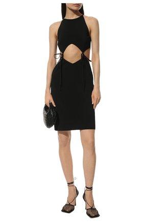 Женские текстильные босоножки stretch BOTTEGA VENETA черного цвета, арт. 651388/VBSD3 | Фото 2 (Материал внутренний: Натуральная кожа; Каблук тип: Шпилька; Материал внешний: Текстиль; Подошва: Плоская; Каблук высота: Высокий)