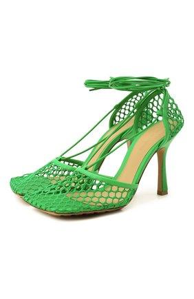 Женские текстильные босоножки stretch BOTTEGA VENETA зеленого цвета, арт. 651388/VBSD3 | Фото 1