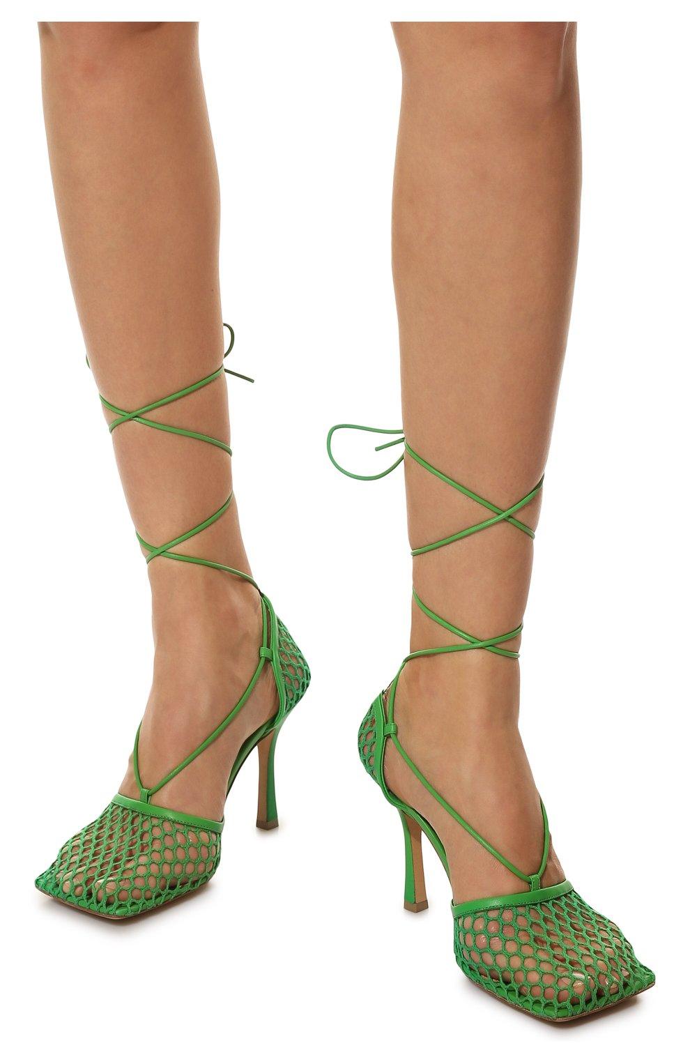 Женские текстильные босоножки stretch BOTTEGA VENETA зеленого цвета, арт. 651388/VBSD3 | Фото 3