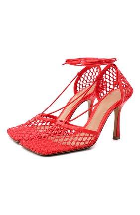 Женские текстильные босоножки stretch BOTTEGA VENETA красного цвета, арт. 651388/VBSD3 | Фото 1